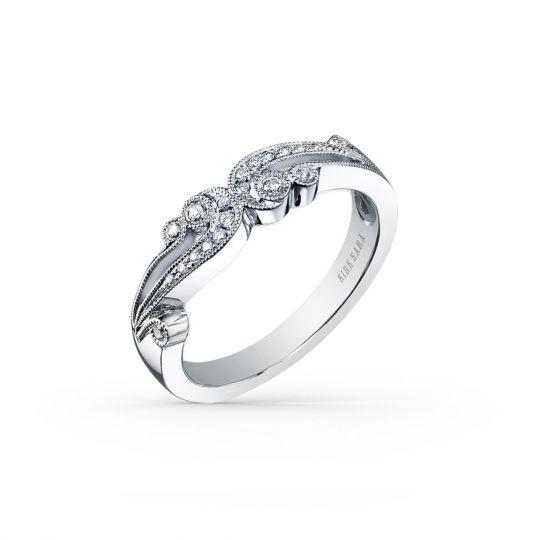 Filigree Wedding Band.Kirk Kara Platinum Diamond Milgrain Filigree Wedding Band