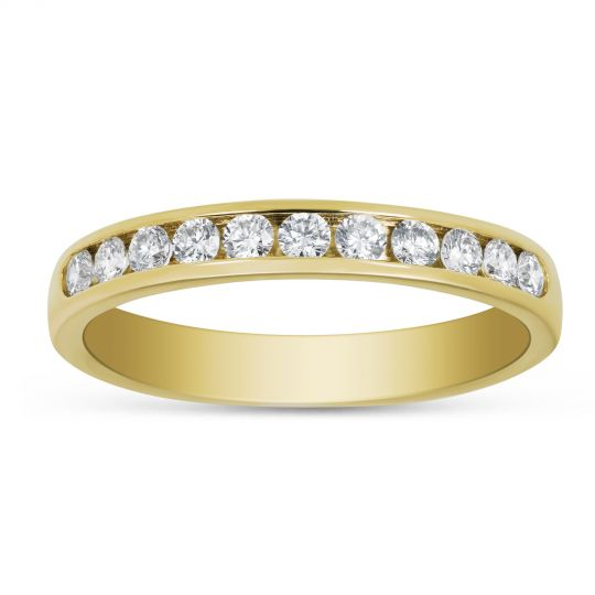14k Yellow Gold Channel Set Diamond Wedding Band 0 33cttw