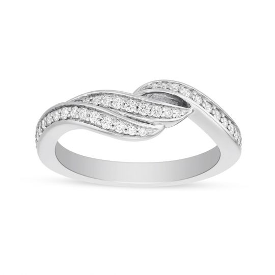 Artcarved 14k White Gold Diamond Swirl Wedding Band 0 34ap Borsheims