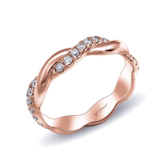 14k Rose Gold Diamond Twisted Wedding Band 0 29cttw