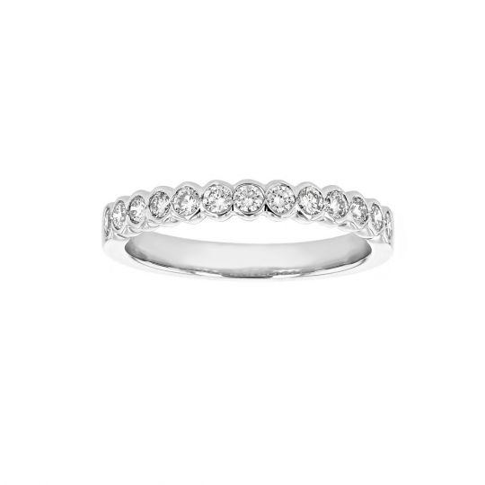 14K White Gold Diamond Bezel Set Wedding Band, 0.48cttw | Borsheims