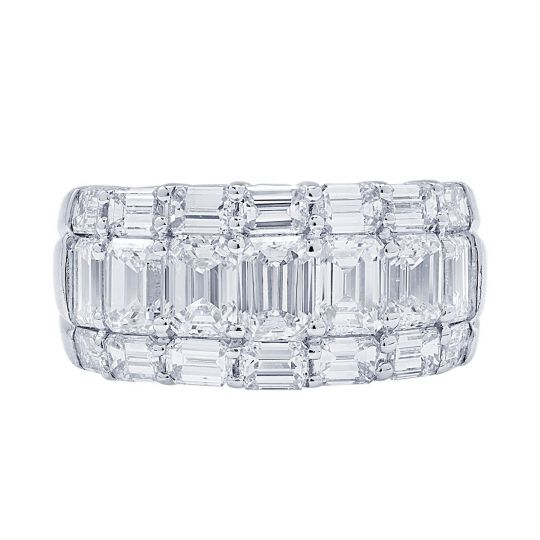 Jb Star Platinum Emerald Cut Diamond Three Row Wedding Band Borsheims
