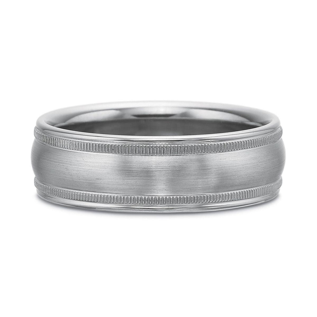 precision set palladium brushed domed 7mm wedding band