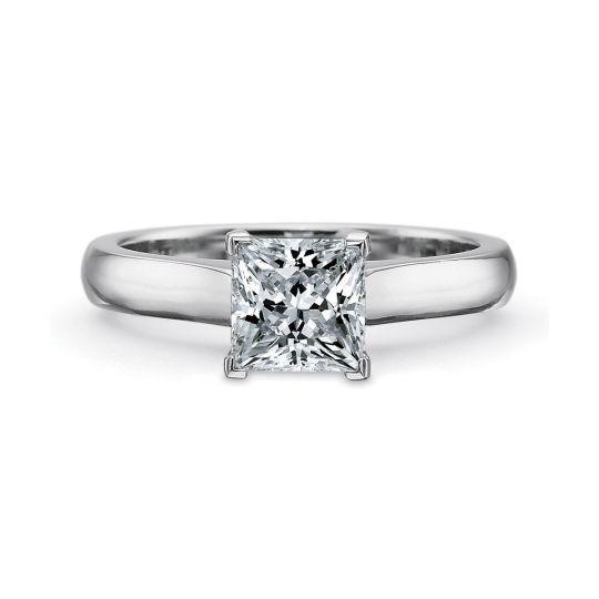 9360a85667b Precision Set 18K White Gold Solitaire Petite Flush Fit Ring for Princess  Cut Center Stone