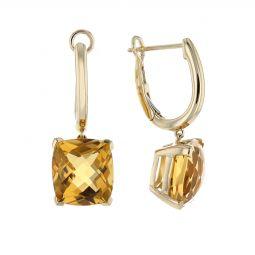 14k Yellow Gold Checkerboard Cushion Citrine Drop Earrings