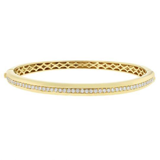 715285891 18K Yellow Gold Diamond Channel Hinged Bangle Bracelet   Borsheims