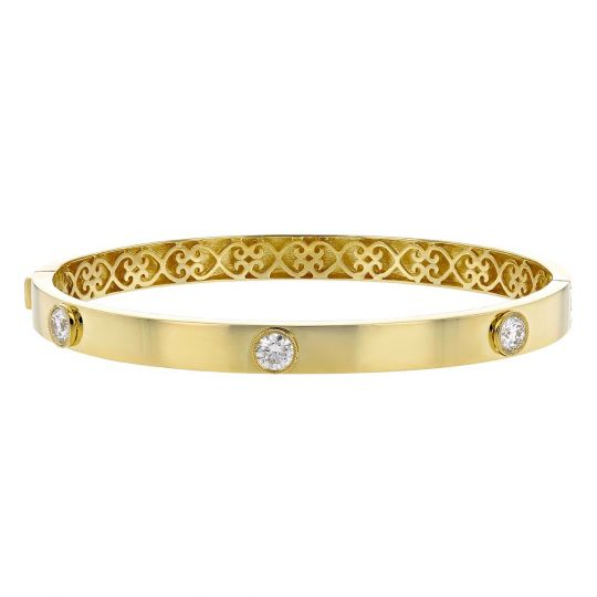 eb01ff3c8 18K Yellow Gold Diamond 3 Stone Hinged Bangle Bracelet   Borsheims