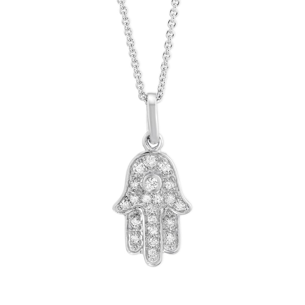 14k white gold round diamond hamsa pendant borsheims 14k white gold round diamond hamsa pendant aloadofball Choice Image