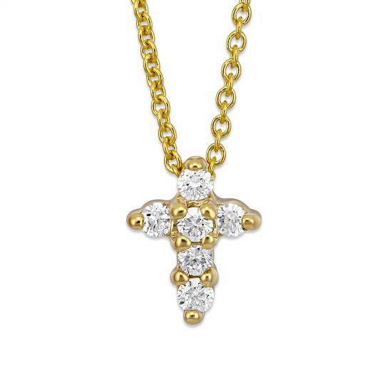 Roberto coin 18k yellow gold diamond cross pendantnecklace 011 roberto coin 18k yellow gold diamond cross pendantnecklace 011cttw aloadofball Image collections