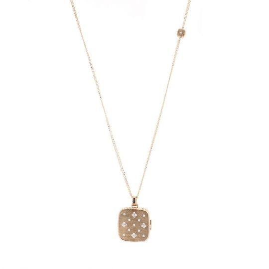 Roberto Coin 18k Rose Gold Venetian Princess Diamond Locket Necklace AM2MO
