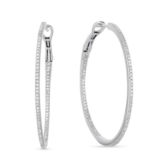14k White Gold Round Diamond Inside Out Large Hoop Earrings