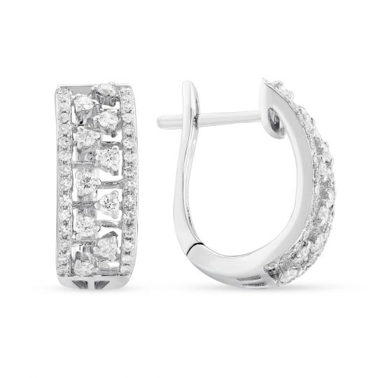 14k White Gold Diamond Wide Hoop Earrings