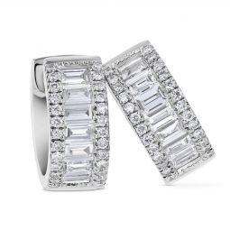 14k White Gold Diamond Baguette Huggie Hoop Earrings 0 58cttw