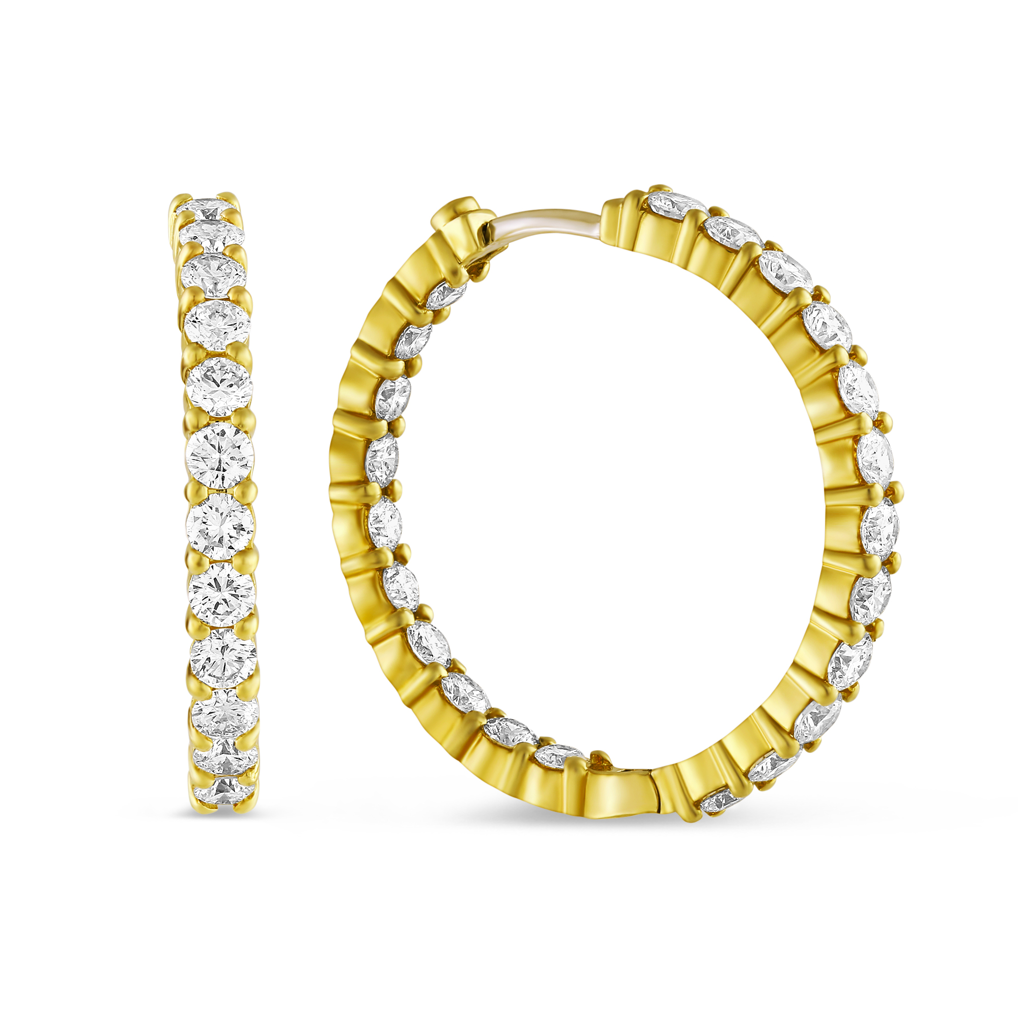 Roberto Coin Large Yellow Gold Inside Outside Diamond Hoop Earrings 3 43 Cttw