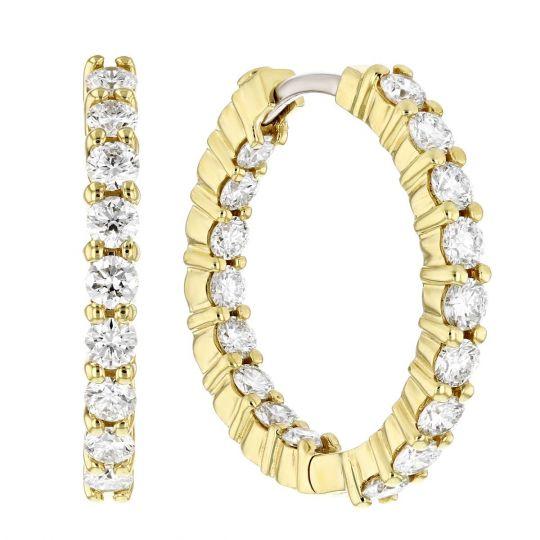570bf6e27 Roberto Coin Medium Yellow Gold Inside Outside Diamond Hoop Earrings, 1.97  cttw | Borsheims