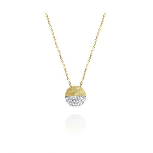 94911d3d20eb9 14K Yellow & White Gold Diamond Pave Disc Necklace, 18