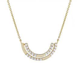 Doves 18k yellow gold diamond double half moon necklace 17 borsheims doves 18k yellow gold diamond double half moon necklace 17 aloadofball Images