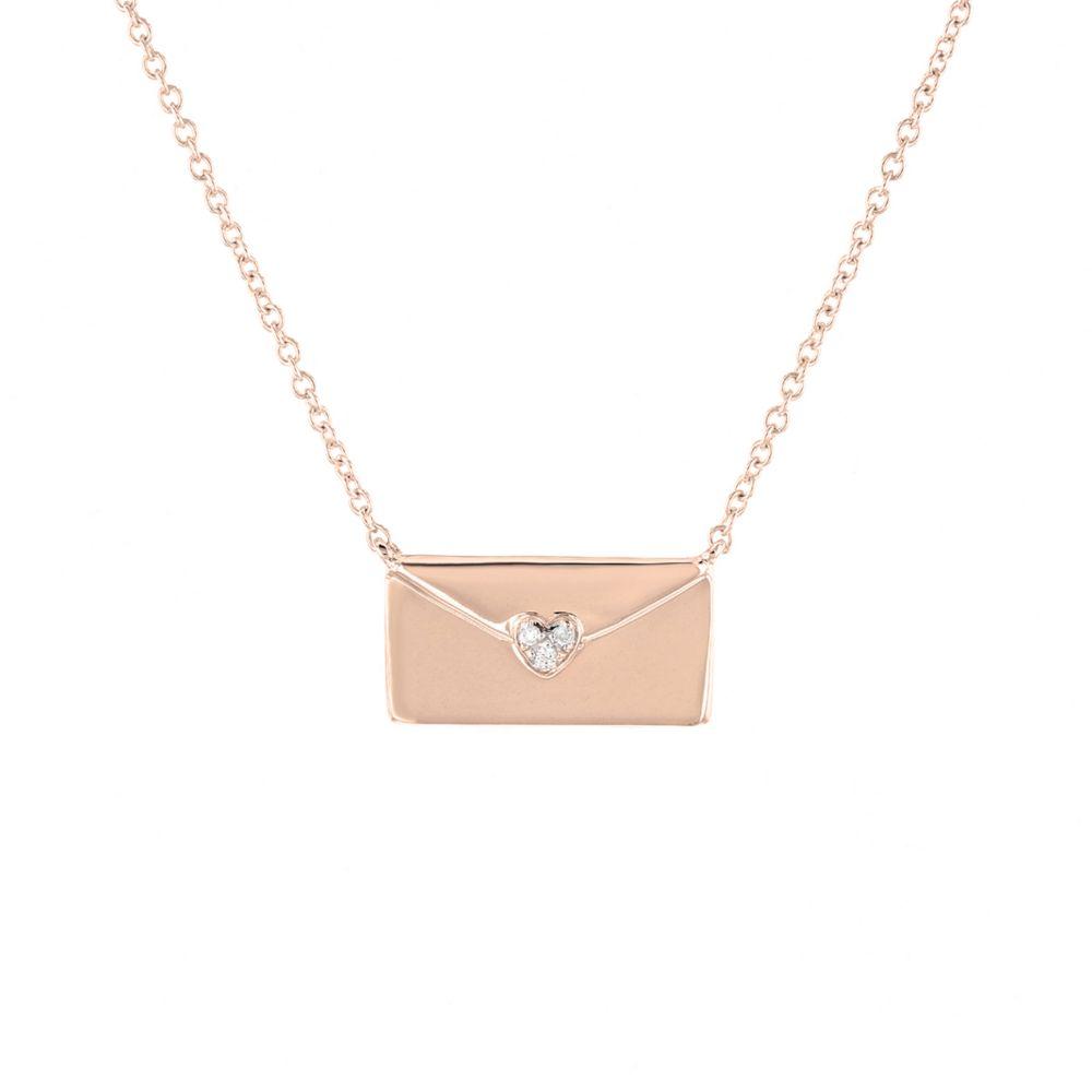 14K Rose Gold Diamond Love Letter Necklace, 16 18