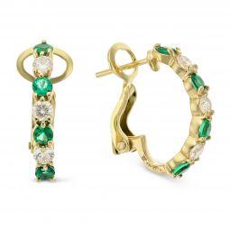 18k Yellow Gold Round Emerald And Diamond Half Hoop Earrings