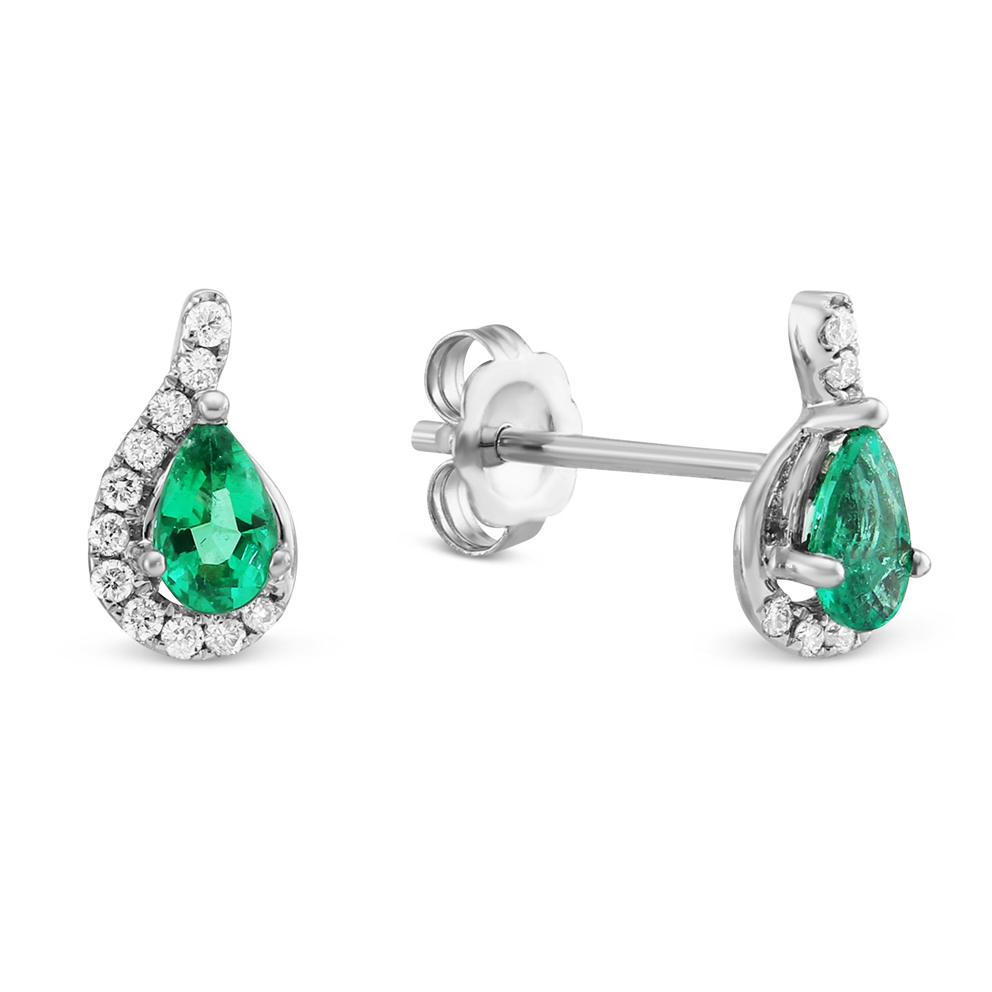 14k White Gold Pear Shaped Emerald Diamond Earrings