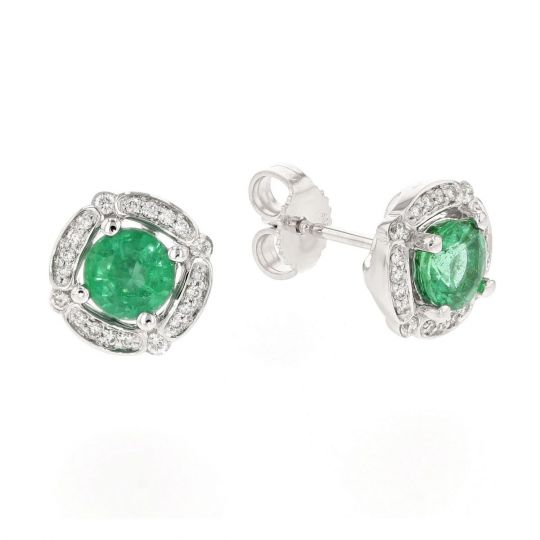 Emerald Diamond Frame Round Stud Earrings In White Gold