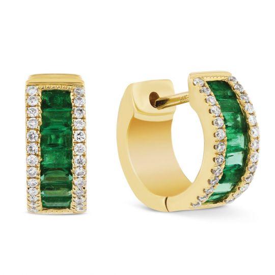 14k Yellow Gold Baguette Emerald Diamond Huggie Hoop Earrings