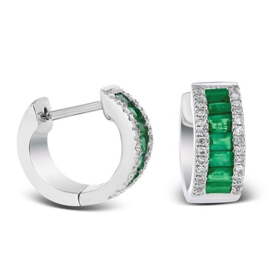 14k White Gold Baguette Emerald Diamond Huggie Hoop Earrings
