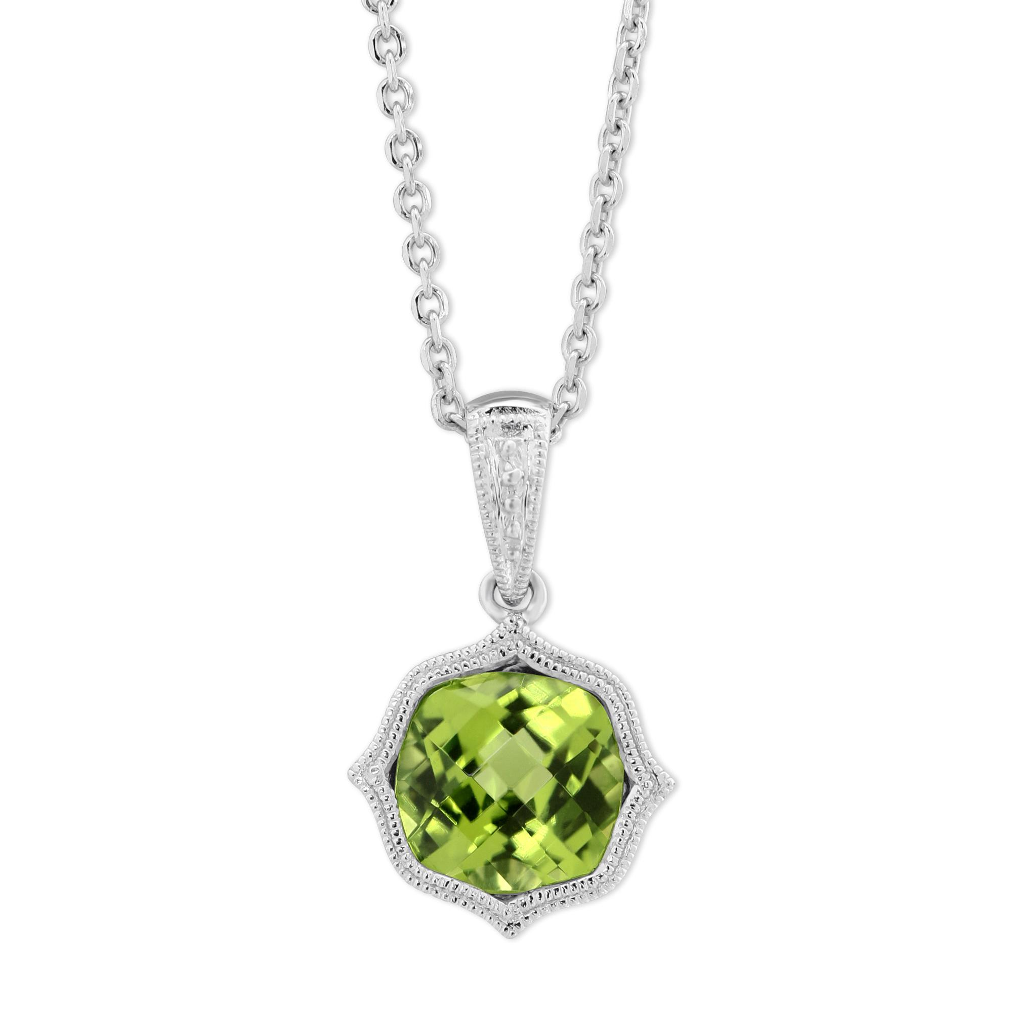 14k white gold peridot pendant with double milgrain 18 borsheims 14k white gold peridot pendant with double milgrain 18 aloadofball Gallery