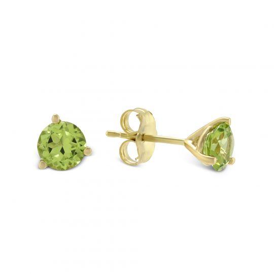 14k Yellow Gold Round Peridot Stud Earrings 5mm