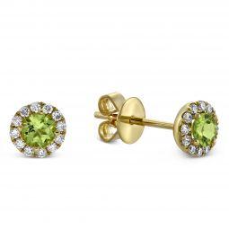 14k Yellow Gold Peridot Diamond Halo Earrings