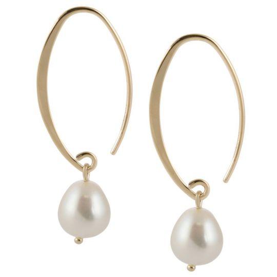30e49406fd22e 14K Yellow Gold White Freshwater Cultured Pearl Oval Hoop Drop Earrings