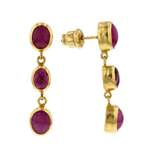 Gurhan 24k Yellow Gold Oval Cabochon Ruby Pink Tourmaline Bezel Set Dangle Earrings