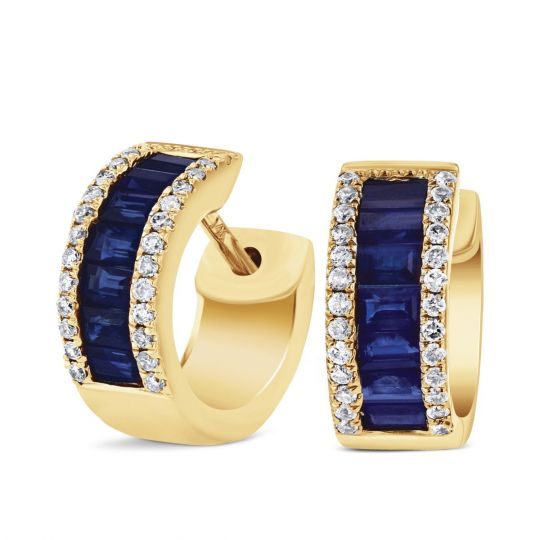 Pave Diamond Baguette Shire Pee Huggie Hoop Earrings In Yellow Gold