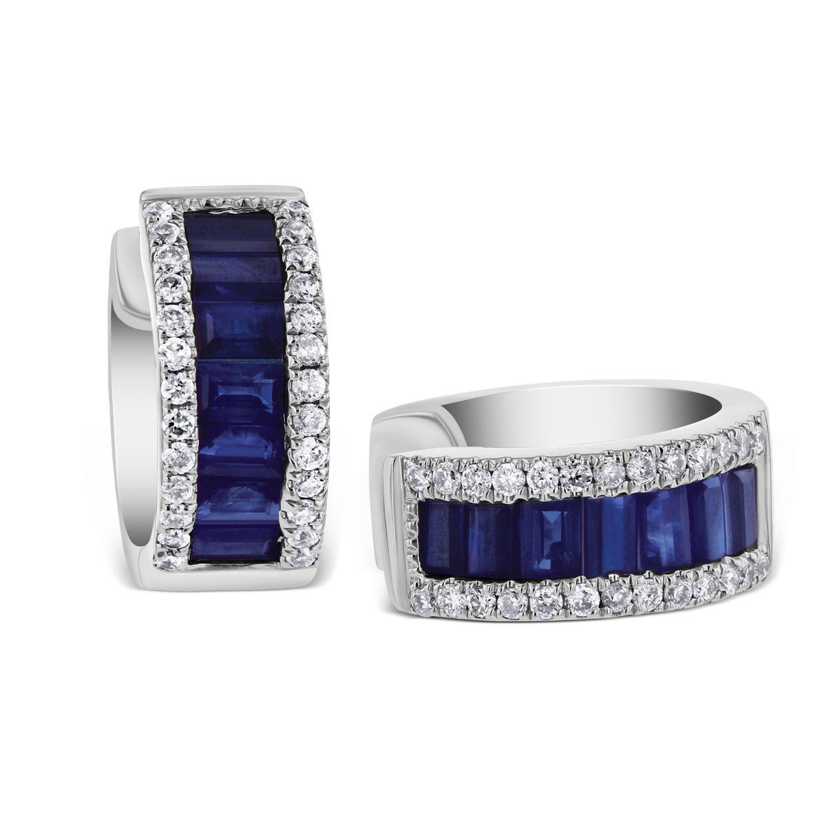 efe062429 14K White Gold Baguette Sapphire & Pave Diamond Petite Huggie Hoop ...