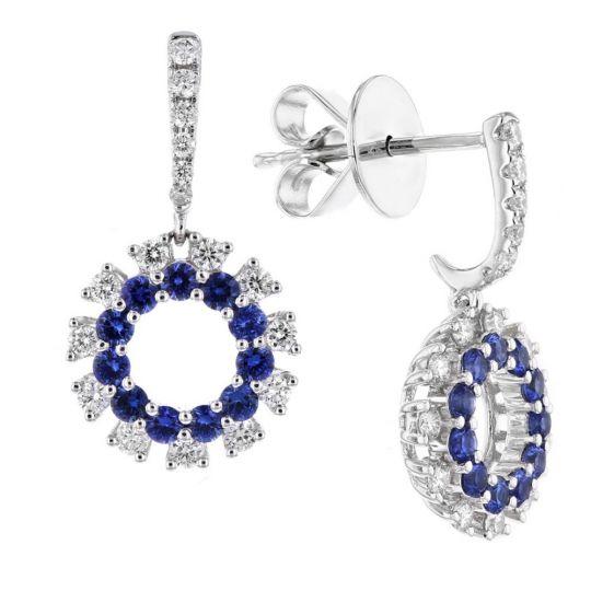 60e773be1 14K White Gold Round Sapphire & Diamond Open Circle Drop Earrings    Borsheims