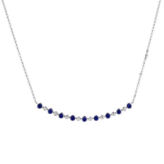 19134955b 14K White Gold Sapphire & Diamond Bezel Curved Bar Necklace, 18
