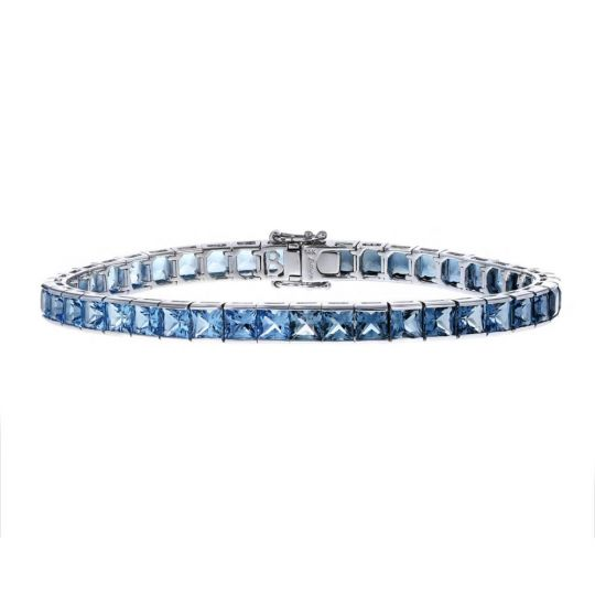 Bellarri 14k White Gold Square Blue Topaz Tennis Bracelet 7