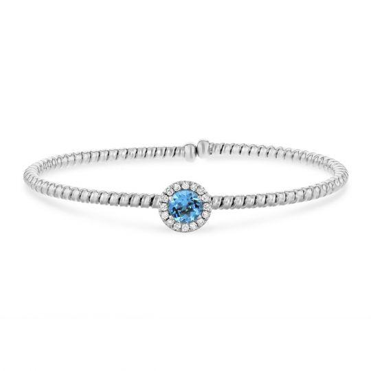 18k White Gold Blue Topaz Diamond Halo Flexible Cuff Bracelet