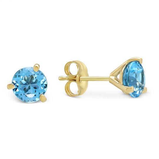 14k Yellow Gold Round Blue Topaz Stud Earrings 6mm