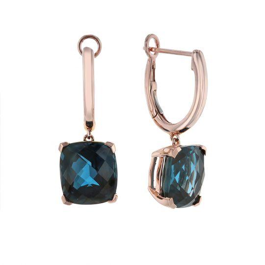 e3605bb1c554 14K Rose Gold Checkerboard Cushion London Blue Topaz Drop Earrings ...