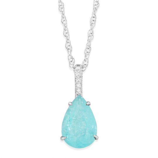 Platinum pear shaped paraiba tourmaline diamond pendant with 14k platinum pear shaped paraiba tourmaline diamond pendant with 14k white gold chain aloadofball Image collections