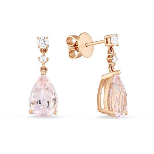 4834dd6a6 14K Rose Gold Morganite and Diamond Drop Earrings | Borsheims
