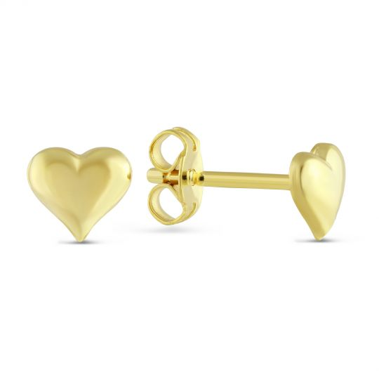 14k Yellow Gold Puffed Heart Earrings