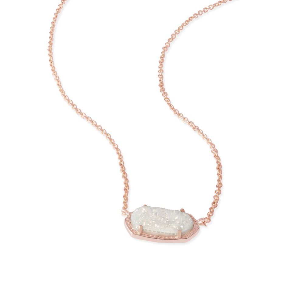 Kendra Scott Elisa Rose Tone Iridescent Drusy Necklace 15