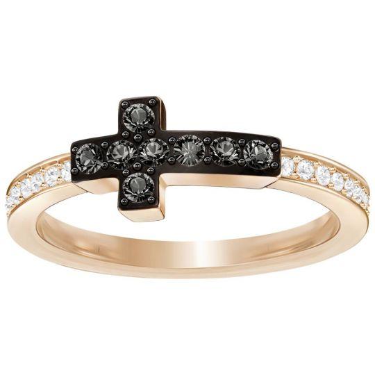 Swarovski Harvey Rose Tone Black Crystal Pave Cross Ring 3c824d4ed