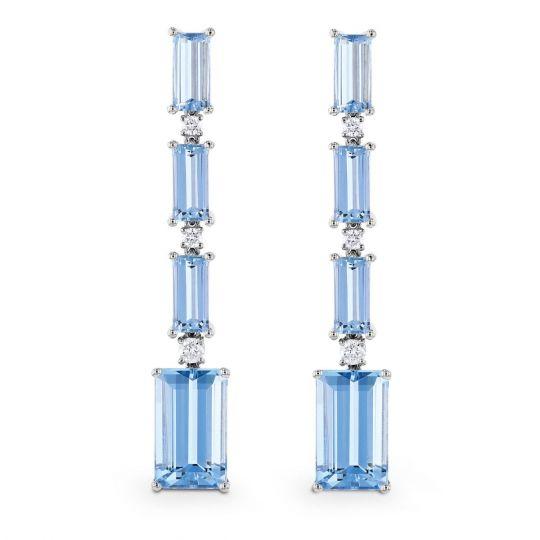 18k White Gold Emerald Cut Aquamarine Diamond Drop Earrings