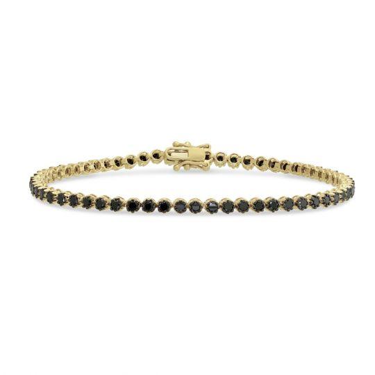 14k Yellow Gold Black Rhodium Diamond Tennis Bracelet 7 25