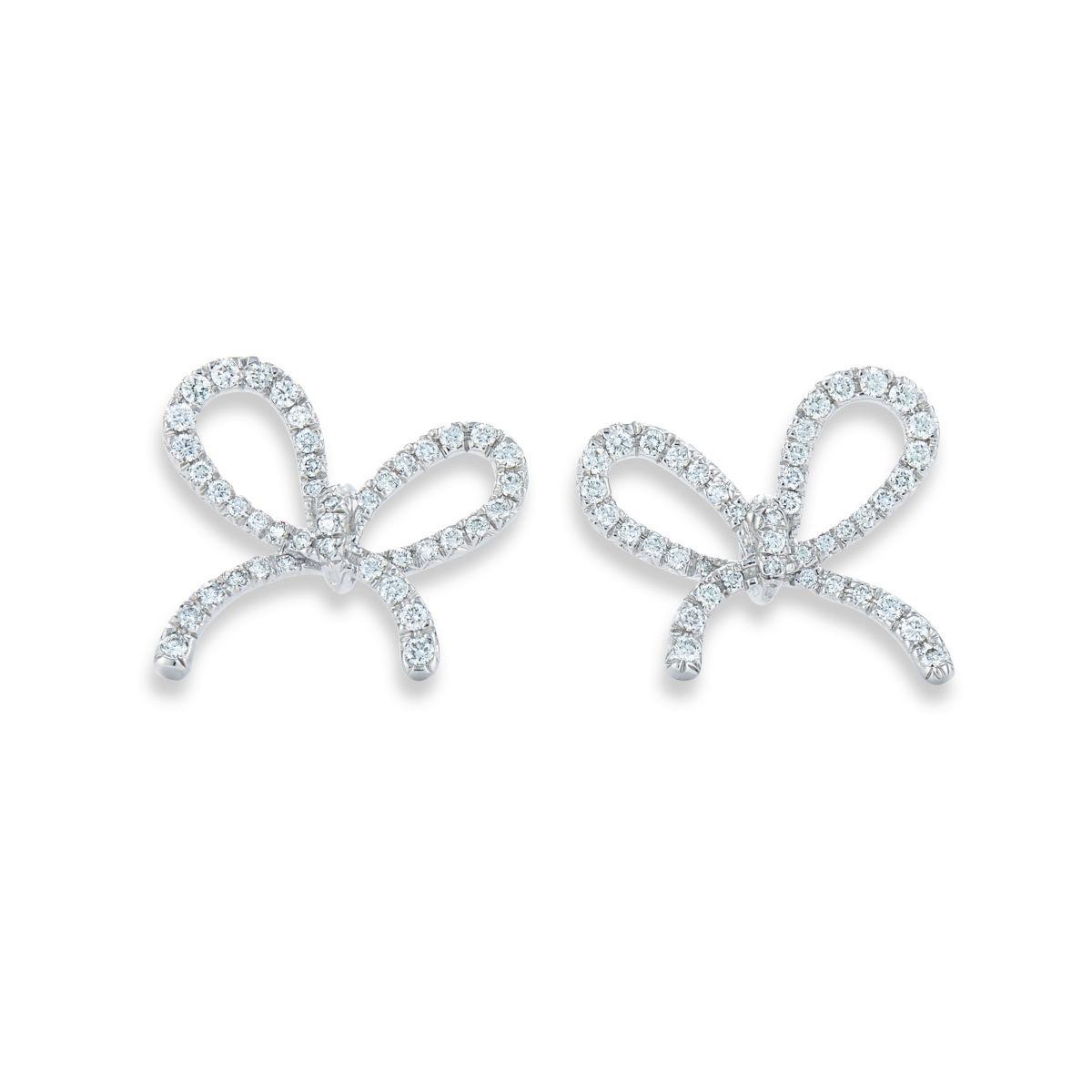 Kwiat 18k White Gold Round Diamond Bow Earrings