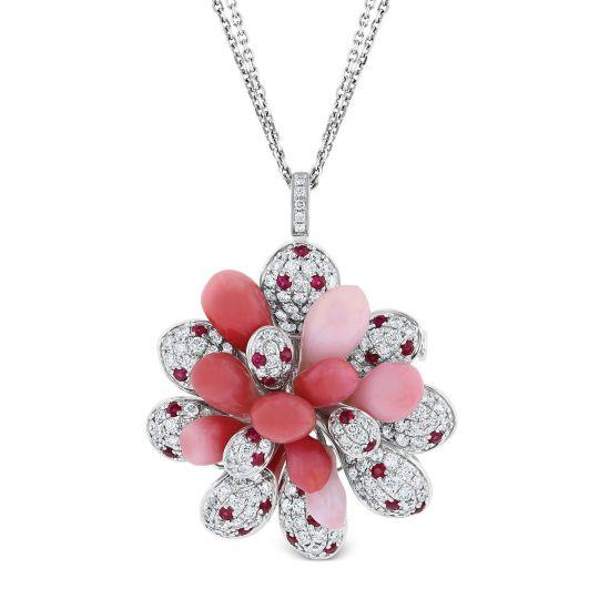 Tara pearls 18k white gold diamond conch pearl ruby pendant with tara pearls 18k white gold diamond conch pearl ruby pendant with double strand chain aloadofball Images
