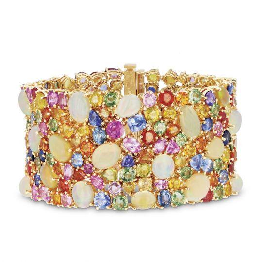 18k Yellow Gold Multicolor Shire Opal Diamond Bracelet 7 25